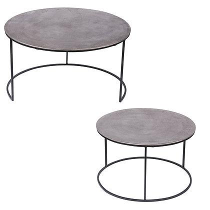 Set de 2 tables en nickel diamètre 61 et 76 cm