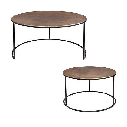 Set de 2 tables diamètres 67 et 61 cm laiton antique