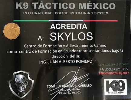 ACREDITACION A SKYLOS K9 S.A POR PARTE DE K9 TACTICO MEXICO
