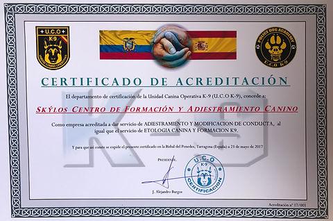 CERTIFICACION SKYLOS K9 S.A. DE UCO K9 ESPAÑA