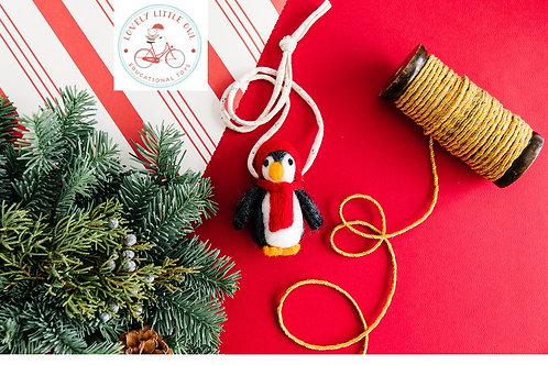 Penguin Wool Felted Christmas Necklace
