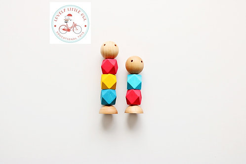 Primary Colors Little Wooden Fidget Dolls