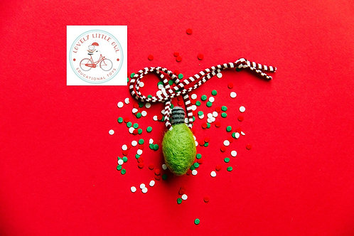Green Christmas Light Bulb Wool Felted Necklace
