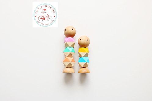 Pastel Colors Little Wooden Fidget Dolls