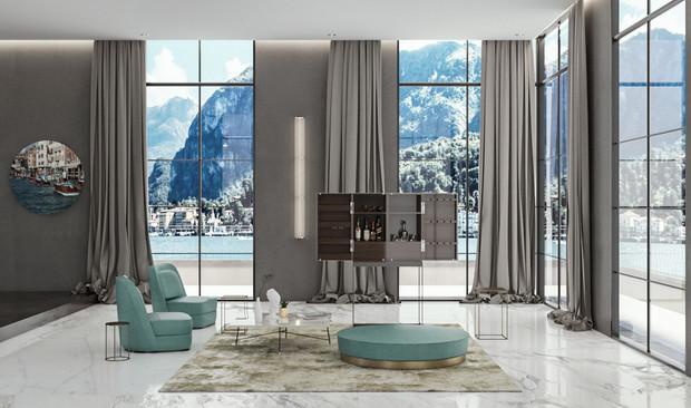 Interno idealizzato sul lago di Como