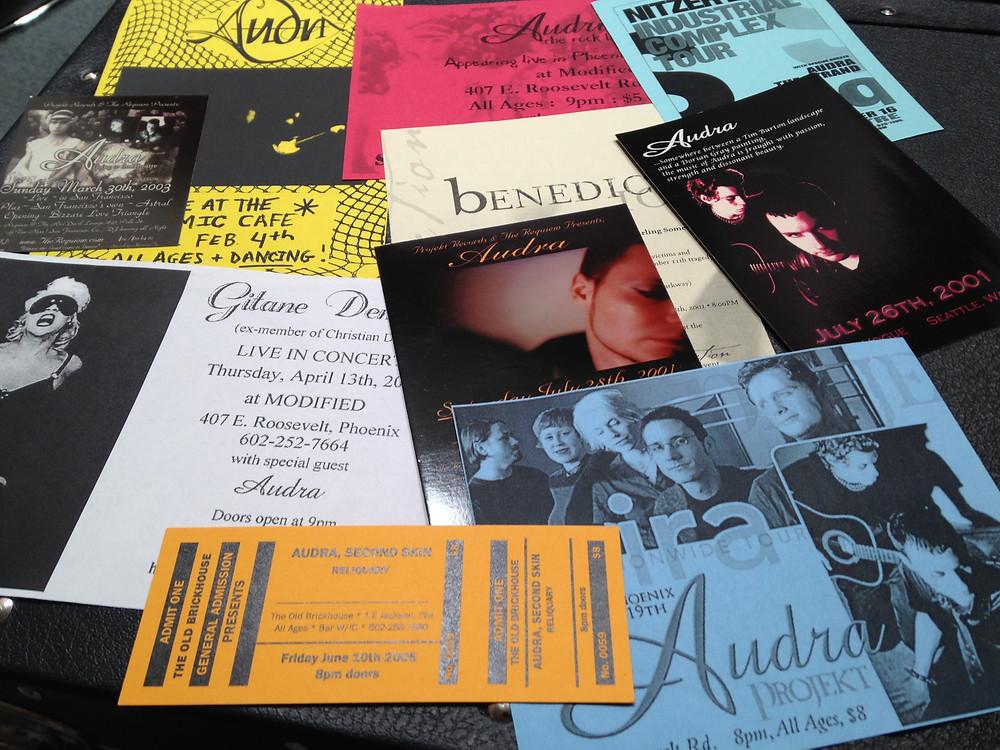 Audra Flyer Pack #1: Nitzer Ebb, Gitane Demone, Mira, Lycia - shows in San Francisco, Seattle, Phoenix