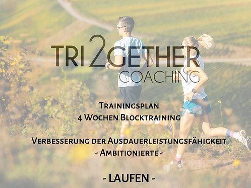 Trainingsplan Laufen - 4 Wochen Blocktraining - Ambitionierte