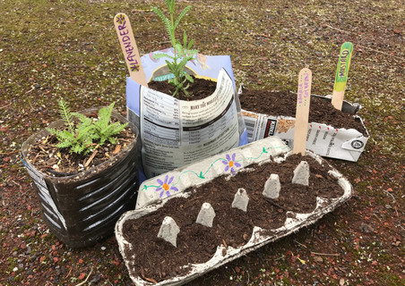 using recycled material to seed and sow