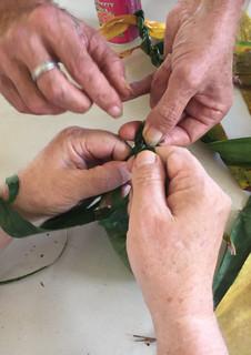 making ti leaf leis together