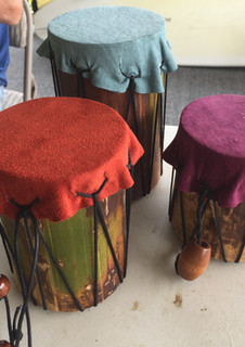 drums made of leather and bamboo