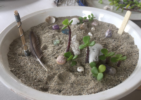 a sand, shell, and stone garden for a desktop