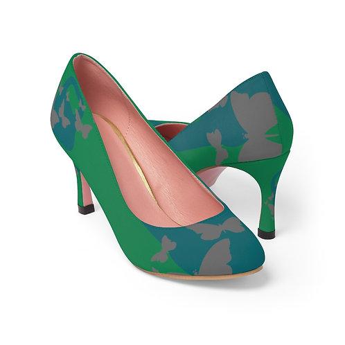Kettlebell aquamarine butterfly Women's High Heels - green