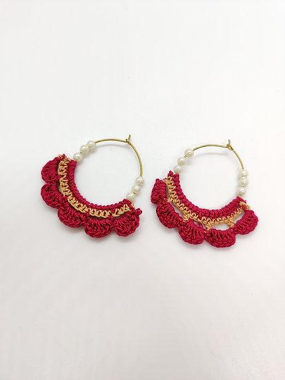 Pink & Beige crochet hoops