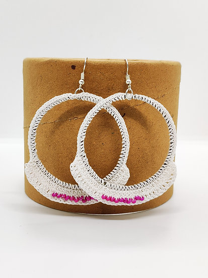 White hoops with pink beads