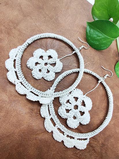 White Crochet Hoops