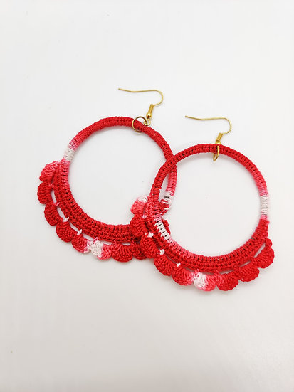 Red shaded Crochet Hoops