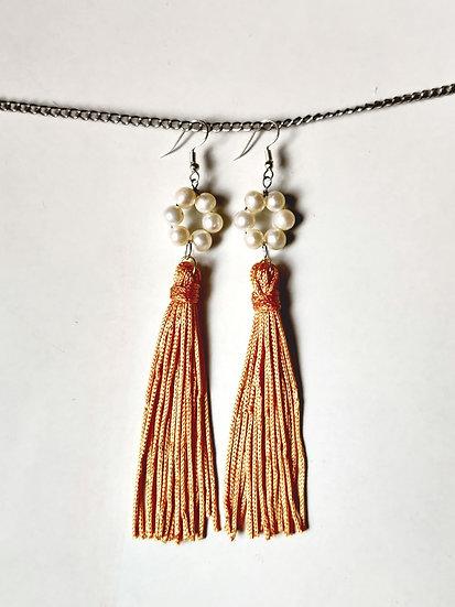 Pearl & Gold Tassel Earring