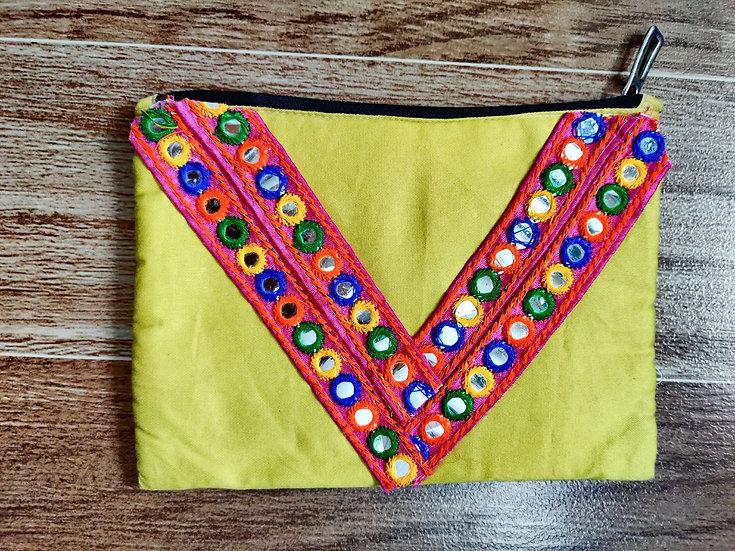 Mirror work Multipurpose zip pouch