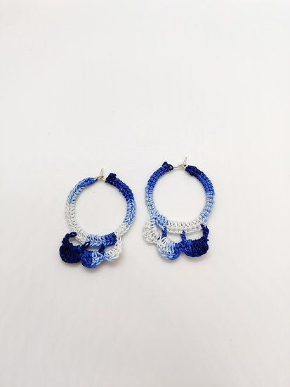 Blue Shaded crochet Hoops