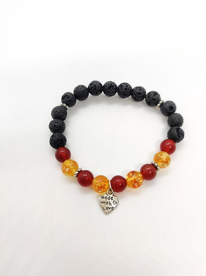 Women Health Bracelet (lower chakras with lava beads)