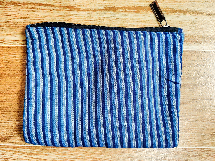 Blue strips multipurpose zip pouch