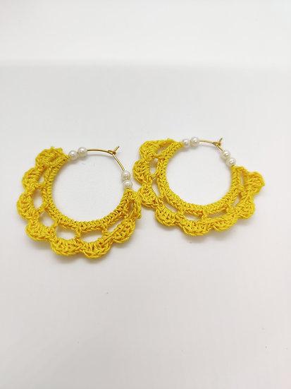Yellow Crochet Hoops