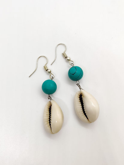 Turquoise Cowrie Earrings
