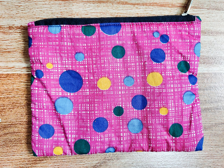 Pink polka dot multipurpose zip pouch