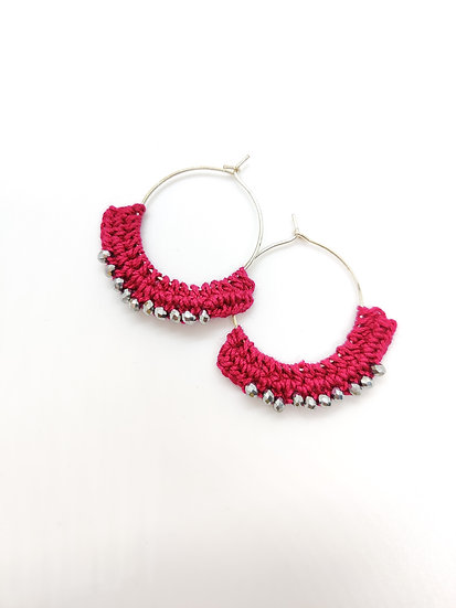 Pink crochet hoops with silver