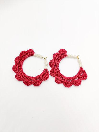 Dark Pink Crochet pearls