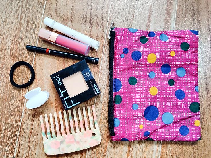 Pink polka dot multipurpose zip pouch