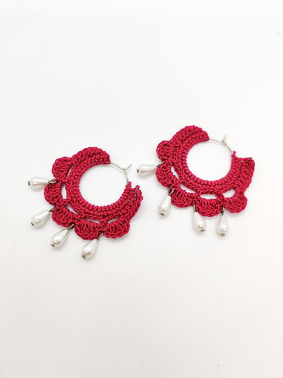 Pink Crochet Hoops with Pearls