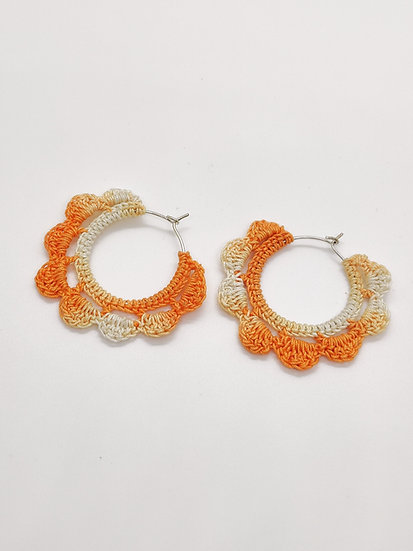 Orange shaded crochet hoops