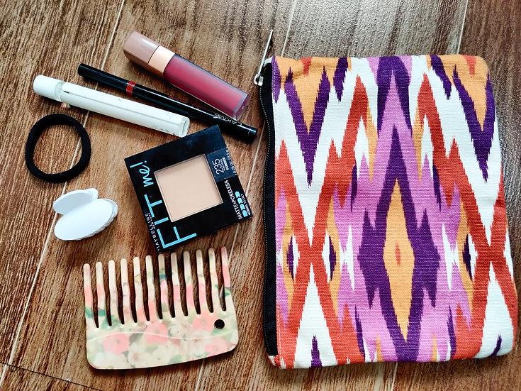 Multipurpose Aztec cotton zip pouch