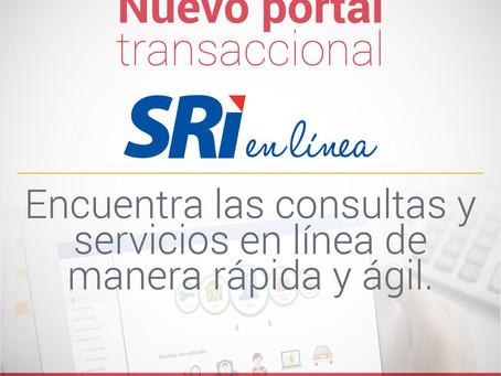Servicios transaccionales disponibles a través del portal del SRI en línea