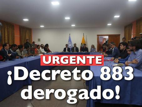Derogatoria del Decreto 883