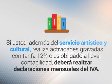 Servicios artísticos y culturales gravados con tarifa 0% del Impuesto al Valor Agregado (IVA).