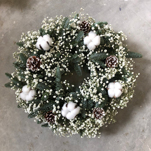 Door Wreath - Baby's Breath (option with Dried Cotton)