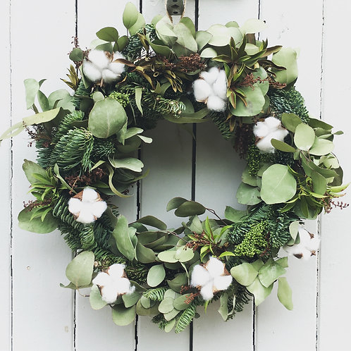 Door Wreath - Dried Cotton