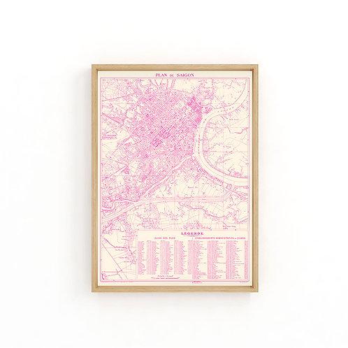 Saigon 1947 - Pink Map A3