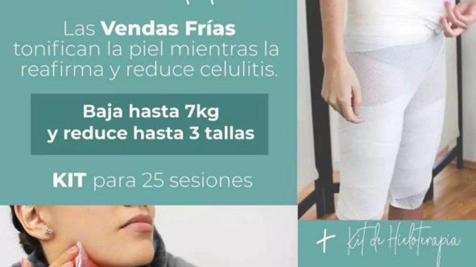 KIT 10 Sesiones de Vendas Frías + Hieloterapia corporal, facial y gel reductivo