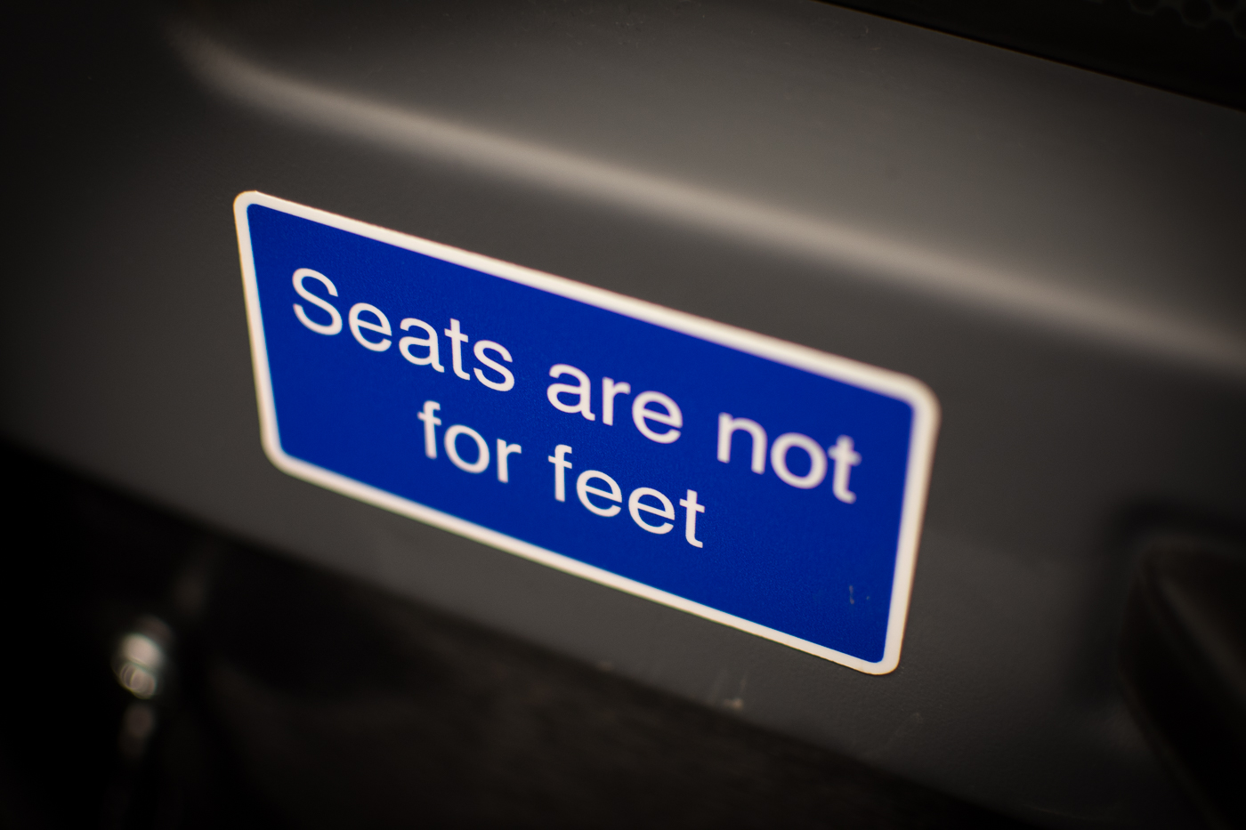 Seats are not for feet