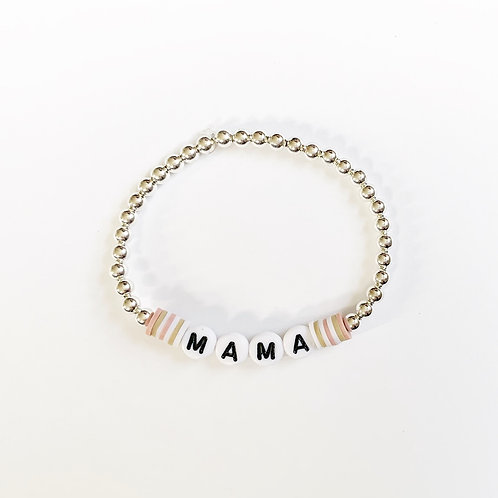 Flat Large Clay Rounds Name Bracelet w/Silver Beads