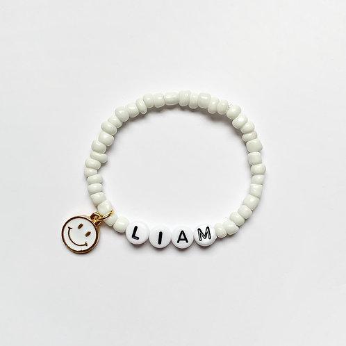 Seed Bead Smiley Face Charm Bracelet
