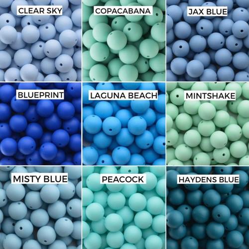 Clear Sky, Copacabana, Jax Blue  Blue Print, Laguna Beach, Mintshake  Misty Blue, Peacock, Haydens Blue