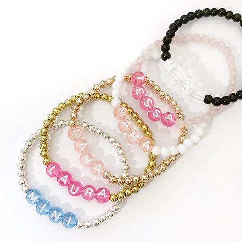 Clear Colour Letter Bead Bracelet