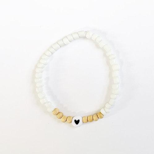 Seed Bead + Natural Wood Name Bracelet