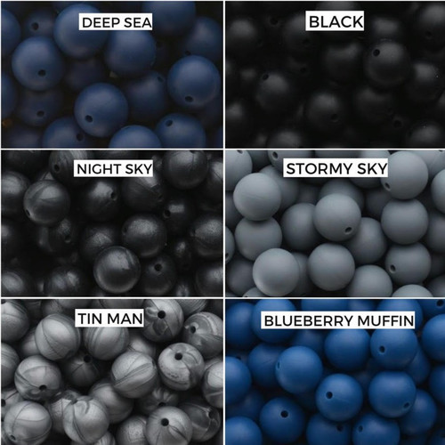 Deep Sea, Black  Night Sky, Stormy Sky  Tin Man, Blueberry Muffin