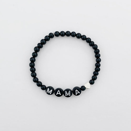 Black Beaded Name Bracelet (with or without heart)