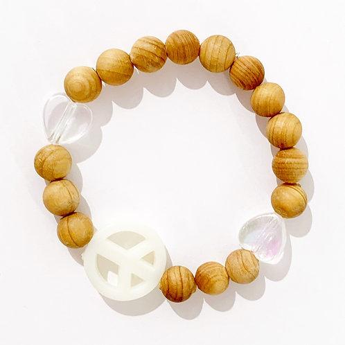 Wooden Bead - Peace & Love